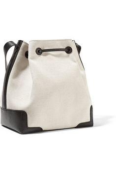 Balenciaga | Bucket leather-trimmed canvas shoulder bag | NET-A-PORTER.COM