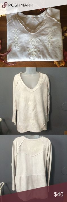 Free People Sweater Beautiful free people over fitted sweater in a dingy cream color. Worn once. Don't like the way it fit me. Size medium. No trades ️️ or Ⓜ️ercari. Ask me about bundles  offers always considered when submitted via the offer button  Free People Tops Sweatshirts & Hoodies