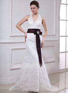 $187 - Choose a sash colour! Sheath/Column Halter Court Train Satin Lace Wedding Dress With Sash Crystal Brooch (002000430) - JJsHouse