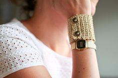 Crocheted Bracelet in golden yarn attached with two by emaime, €25.00