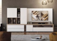 Contemporary Modern Wall Storage System with Cabinet, Shelving and TV Unit More