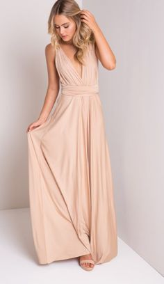 She Moves Maxi Dress in Beige