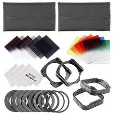 Neewer® Kit de filtros cuadrados Compatible con filtro Cokin P Series - incluye: filtros ND2 ND4 ND8, filtros graduados ND2,ND4,ND8, filtro graduado azul/rojo/amarillo/rosa/verde/naranja + anillo adaptador 49/52/55/58/62/67/72/77/82 MM (9 piezas) + 2 portafiltros + 2 PC soporte para lente + 3 paños de limpieza (gris)