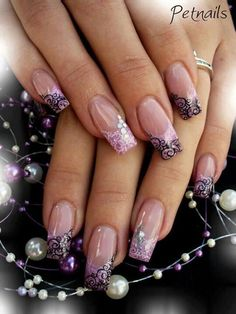 Artificial nails 5 best - Page 4 of 5 Fabulous Nails, Gorgeous Nails, Pretty Nails, Acrylic Nail Designs, Nail Art Designs, Acrylic Nails, Purple Nails, Glitter Nails, Manicure E Pedicure