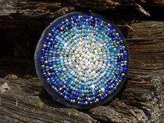 Winter Night Blue Mandala Brooch by SmArtAnna on Etsy, $39.00