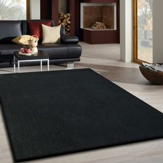 Black Long Soft And Durable Indoor Shag Area Rug.Tufted Hand Woven Designed  For The