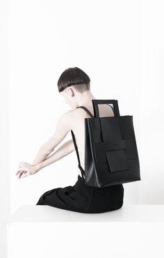 backpack, black, minimal, readytowear, whiteonwhite, whitespace, minimalism, minimalistic, avantgarde, allblack, blackonblack, unisex, menswear