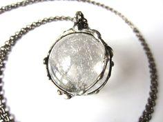 magi - crystal ball necklace - large quartz pendant - bohemian jewelry