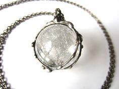 magi - crystal ball necklace - large quartz pendant - bohemian jewelry