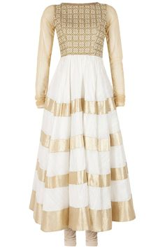 SONAL KALRA AHUJA Ivory and gold embroidered anarkali set available only at Pernia's Pop-Up Shop.