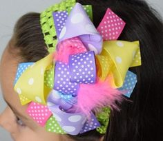 Happy Easter Marabou Boutique Bow-free shippiing