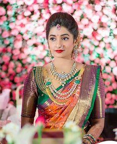 Ideas For Indian Bridal Saree Color Combinations South Indian Weddings, South Indian Bride, Kerala Bride, Indian Groom, Indian Bridal Sarees, Indian Bridal Makeup, Silk Saree Blouse Designs, Bridal Blouse Designs, Silk Sarees