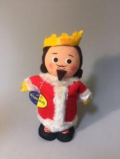 VINTAGE KING DOLL,Vintage Dakin Jolly King,Jolly King doll,vintage King Christmas Decor,holiday decor,Dakin Dream Dolls,retro holiday decor