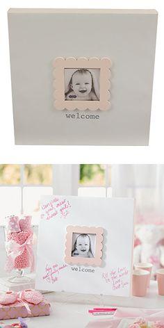 Mud Pie Baby Shower Keepsake Canvas Frame, Pink
