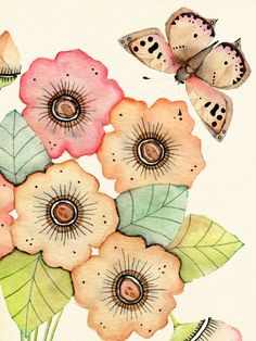 Wildlife in Inks & Watercolours by Colleen Parker — Coppers and Corals (detail) Arte Floral, Motif Floral, Watercolor Painting Techniques, Watercolor Paintings, Watercolours, Butterfly Art, Flower Art, Butterflies, Watercolor And Ink