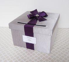 Wedding+Card+Box+Silver+Plum+Purple+Money+Holder+by+LittleDivine,+$59.00
