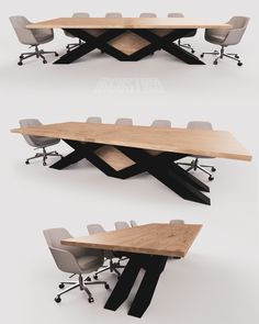 Simply Different.Simply Different.  Modern Industrial Conference Table  Custom designed steel base with Solid Maple Top + Accent Panels. Office Table Design, Modern Office Design, Modern Desk, Industrial Interior Design, Modern Industrial, Decor Interior Design, Steel Furniture, Modern Furniture, Furniture Design