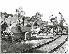 The stone of remembrance , being dressed at Moruya Quarry 1920
