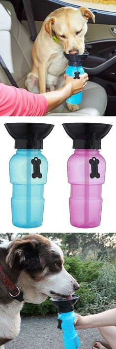 Dog water bottle with attached mini bowl