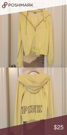 Victorias Secret Velour Zip Up Hoodie Pastel bright yellow with Silver on the back. Slight wear & super comfortable! Victoria's Secret Tops Sweatshirts & Hoodies