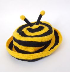 Bee Panama Crochet Baby Hat Baby sun hat  summer by KernelCrafts, $22.00