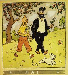 ¤ calendrier Herge Mai 1944. Tintin et le capitaine Haddock ont chacun leur brin de muguet #Hergé
