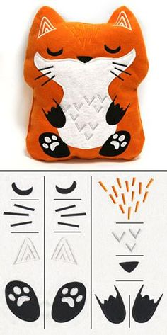 "Combine cute embroidery details with basic construction to create an adorable plush fox, approximately 13 x 15.5"" tall! Get the fabric pattern PDF and assembly details by following the link to the Project Instructions. Stitch count listed is for all pieces together."