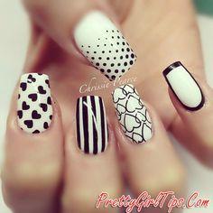 @prettygirltips Black and White Nails