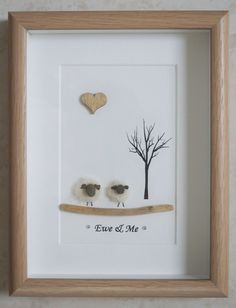 This is a beautiful small Pebble Art framed Picture of 2 Sheep - Ewe & Me handmade by myself using Pebbles, Needle Craft Sheep, Driftwood & Wooden Heart Size of Picture incl Frame : approx. 22cm x 17cm Thanks for looking Doris Facebook : https://facebook.com/Pebbleartbyjewlls4u Product Code: P - Pink