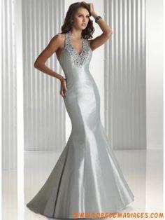 Robe de soirée glamour bretelle au cou avec cristal de Mulhouse