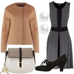 Cena dai suoceri? ecco l'outfit giusto: giacca da abbinare al bellissimo vestito bianco nero. Gli accessori completano il tutto con gusto: bellissima borsa a tracolla, orecchini di perle e francesine con fiocco.