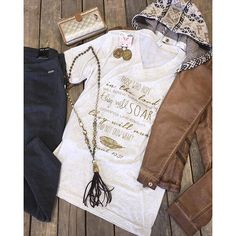 """""""#Graphic #tee $29.99 (S-L, 2XL) #Pleather #Jacket $64.99 S&L #DearJohn #charcoal #skinnies $69.99 (25, 27, 29, 30, 31) #PinkPanache #earrings $40.99 Pink panache #necklace $76.99 Consuela #wallet $135.99 We #ship! Call to order! 903.322.4316 #shopdcs #goshopdcs #shoplocal #love"""" Photo taken by @daviscountrystore on Instagram, pinned via the InstaPin iOS App! http://www.instapinapp.com (01/19/2016)"""