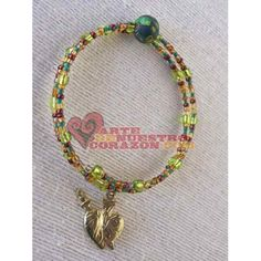 Bracelet (Memory Wire), Heart Milagro, Green & Brown Beads, by Susie Carranza. Available at www.ArtedeNuestroCorazon.com