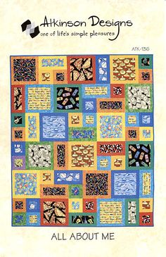 """Super simple and fun """"All About Me"""" quilt pattern. Use your favourite novelty prints that say something about you. Bright borders really make the prints pop, but you could also just use narrower sashing for a more serous look."""