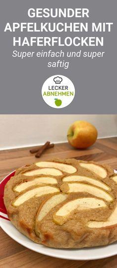 Ein gesunder Apfelkuchen mit Haferflocken statt Weißmehl! Zusätzlich dazu enthält dieser gesunde Apfelkuchen auch keinen zusätzlich zugesetzten Zucker.