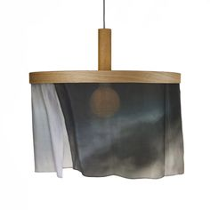 Pendant lamp with silk. Digital Print Dark CLOUDS. Available in six designs, providing a personal completion in any modern or classic interior. The silk banners are interchangeable and can be ordered separately; a simple yet refined system allows you to change your interior in moments.
