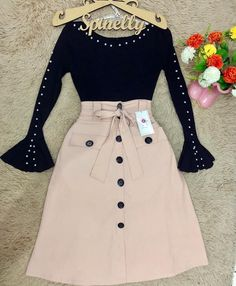 Modest Outfits, Skirt Outfits, Stylish Outfits, Long Skirt Fashion, Fashion Dresses, Casual Dresses For Women, Short Dresses, Clothes For Women, Pretty Outfits