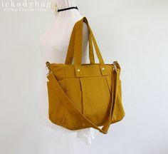 CHRISTMAS SALE - Mustard Diaper bag / Canvas bag / Messenger Tote Bag / Travel / Shoulder bag / Handbag - 3 Compartments on Etsy, $41.40