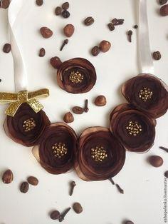 """Колье текстильное с цветами и кольцо """"Шоколад и Карамель"""" - коричневый"""