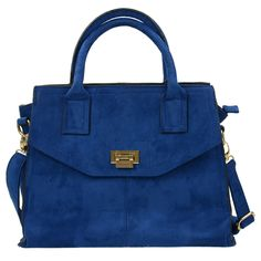 SACHA // Suédine blauwe tas met gouden afwerking  €49,95
