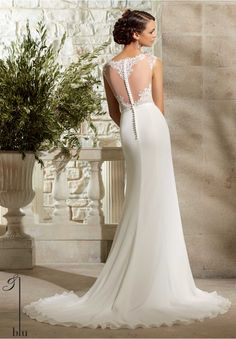 Wedding Gown 5301 Venice Lace and Chiffon Georgette with Satin Waistband