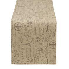 French Flourish Printed Table Runner - Fleur de Lis Kitchen - French Inspired Kitchen Textiles #kitchen #neutral kitchen