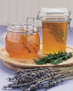 Herb Infused Honey-SWEEEEETTT!    Enhance the flavor and aroma of an ordinary pot of honey by pushing two or three sprigs of fresh herbs into the syrup. Lavender and rosemary, thyme, and sage are delicious and fragrant options. Allow herbs to steep at least five days for maximum intensity. To make a gift, transfer store-bought honey into a handsome mason jar before adding herbs.