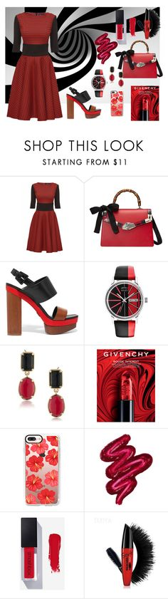 """""""Power look"""" by alexp-831 ❤ liked on Polyvore featuring Lattori, Gucci, Michael Kors, Kenzo, 1st & Gorgeous by Carolee, Givenchy, Casetify and Obsessive Compulsive Cosmetics"""