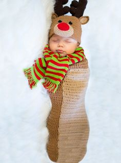 Baby Crochet Cocoon Randolph Reindeer Costume - Party City
