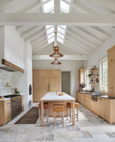 Boho Home Decor Incredible wood kitchen cabinets with vaulted ceilings and huge island for Client Bu Round Two // Part 1 Interior Exterior, Kitchen Interior, Kitchen Decor, Coastal Interior, Farmhouse Interior, Modern Interior, Modern Decor, Wood Kitchen Cabinets, Kitchen Flooring