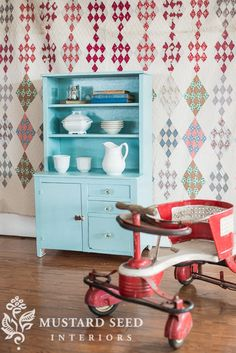 child's hutch in Eulalie's Sky Milk Paint | miss mustard seed Antique Kitchen Cabinets, Painting Kitchen Cabinets, Kitchen Paint, China Cabinets, Diy Kitchen, Vintage Kitchen, Hand Painted Furniture, Repurposed Furniture, Kids Furniture