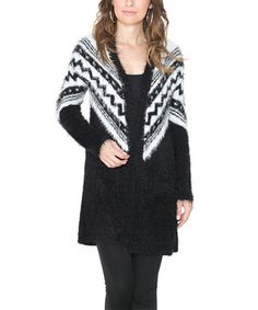 Black & White Zigzag Open Cardigan #zulily #zulilyfinds