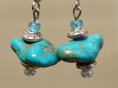 Turquoise Chunky Stone Earrings by WesternCowgirlDesign on Etsy