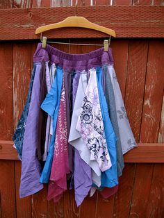 Made from thrift store handerchiefs or scarves.....Twilight Pixie Skirt - Medium to Large - Tattered Shabby Chic Eco